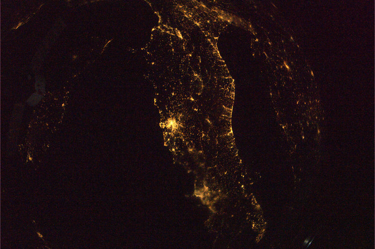 Florence, Rome, Naples and the Adriatic coast at night