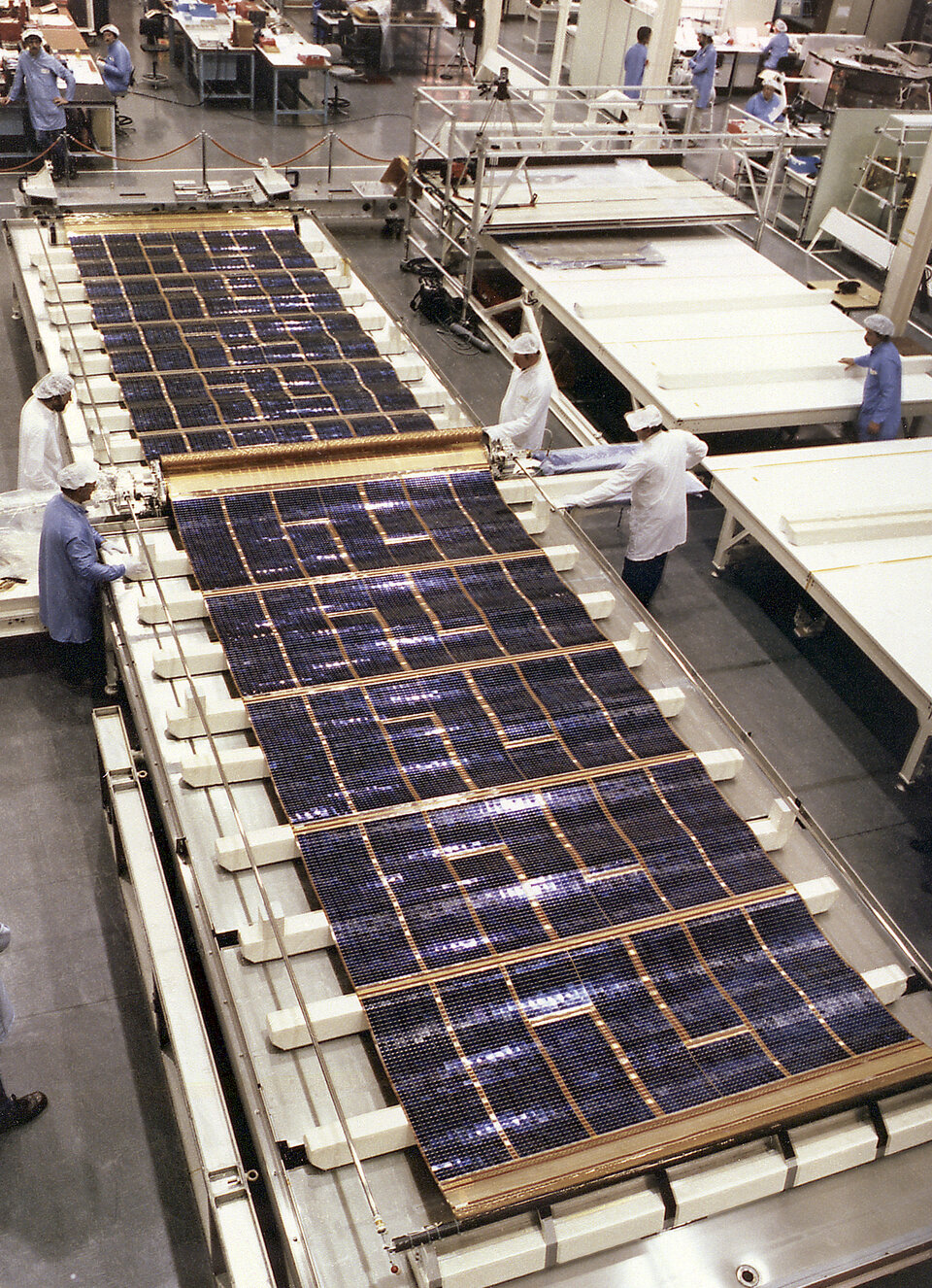 Hubble solar blankets in preparation at British Aerospace