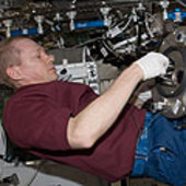 Frank De Winne works with the ISS Materials Science Laboratory