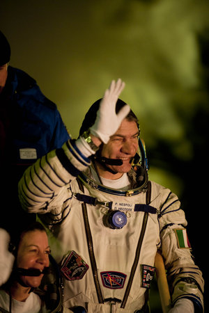 Paolo Nespoli at the launch pad