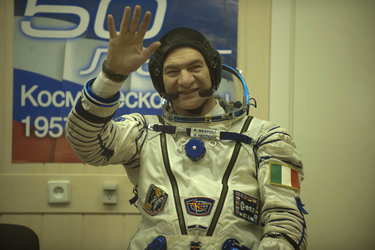 Paolo Nespoli in his Sokol pressure suit