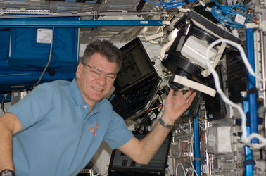 Paolo Nespoli working in Columbus module