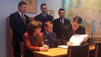 Signing the guest book in Gagarin's office