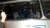 Soyuz TMA-20 crew leaving the Cosmonaut Hotel