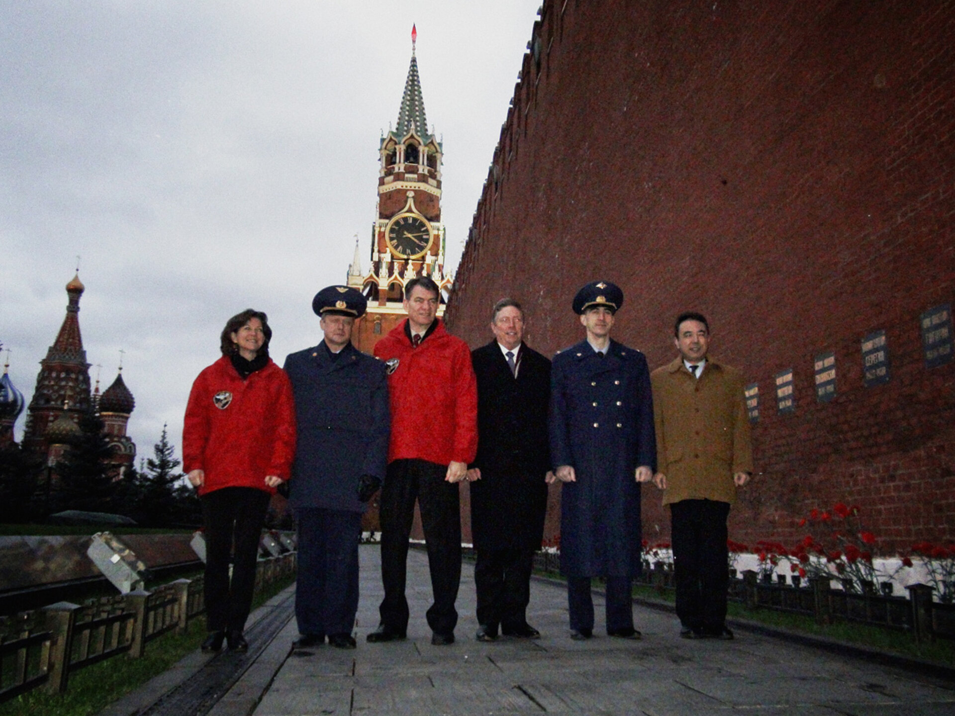 The crew visiting Kremlin Wall