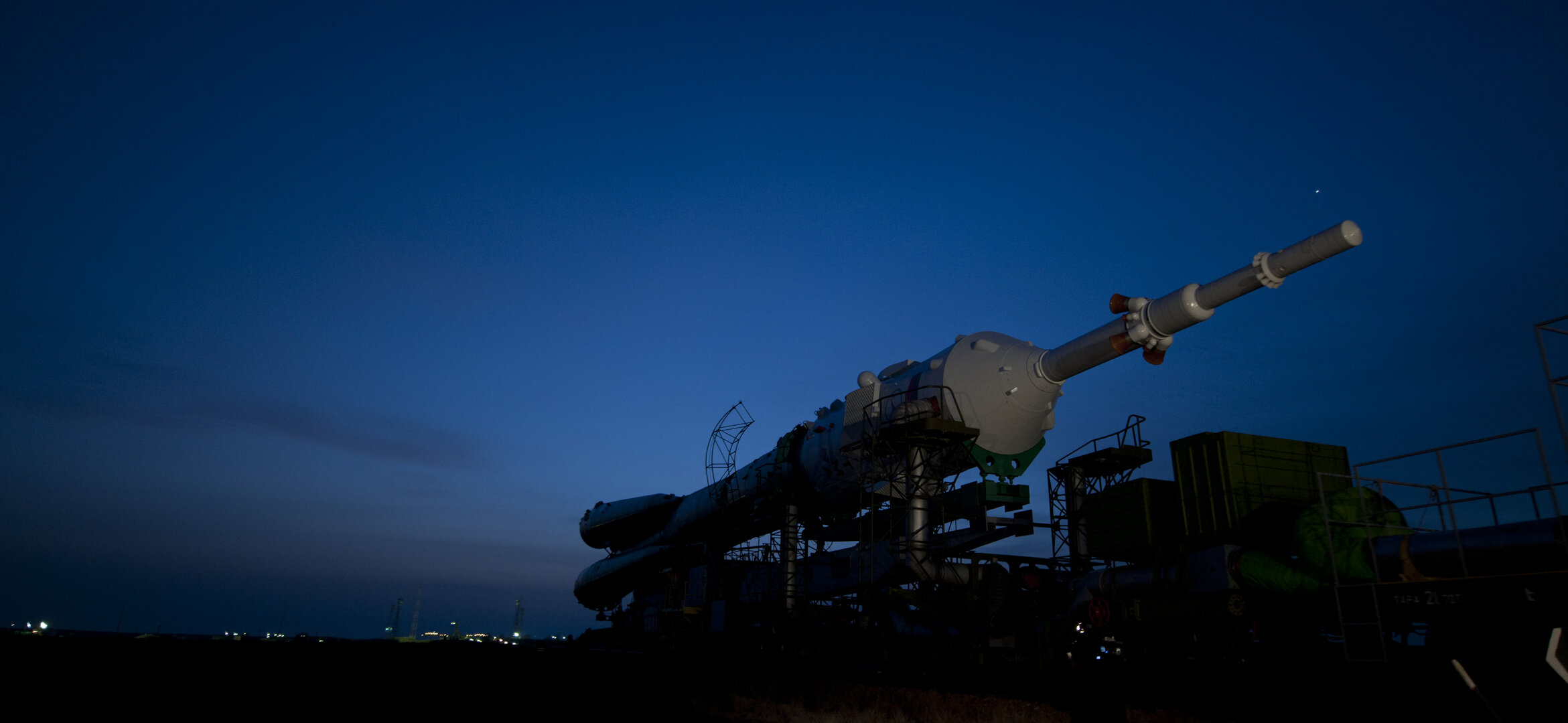 The Soyuz launcher is transfered to the launch pad