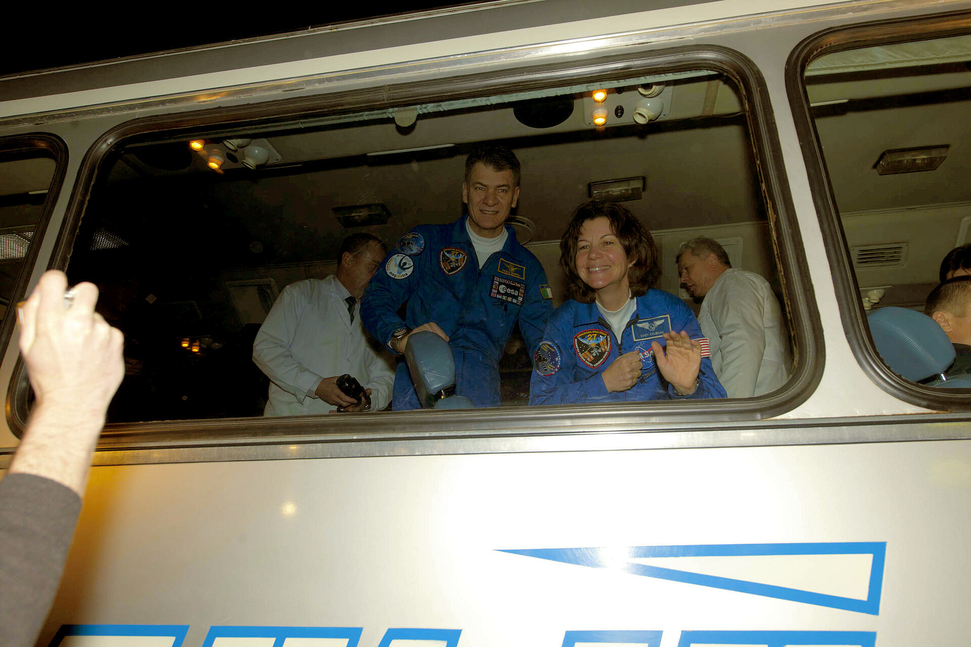 TMA-20 crew leaving the Cosmonaut Hotel