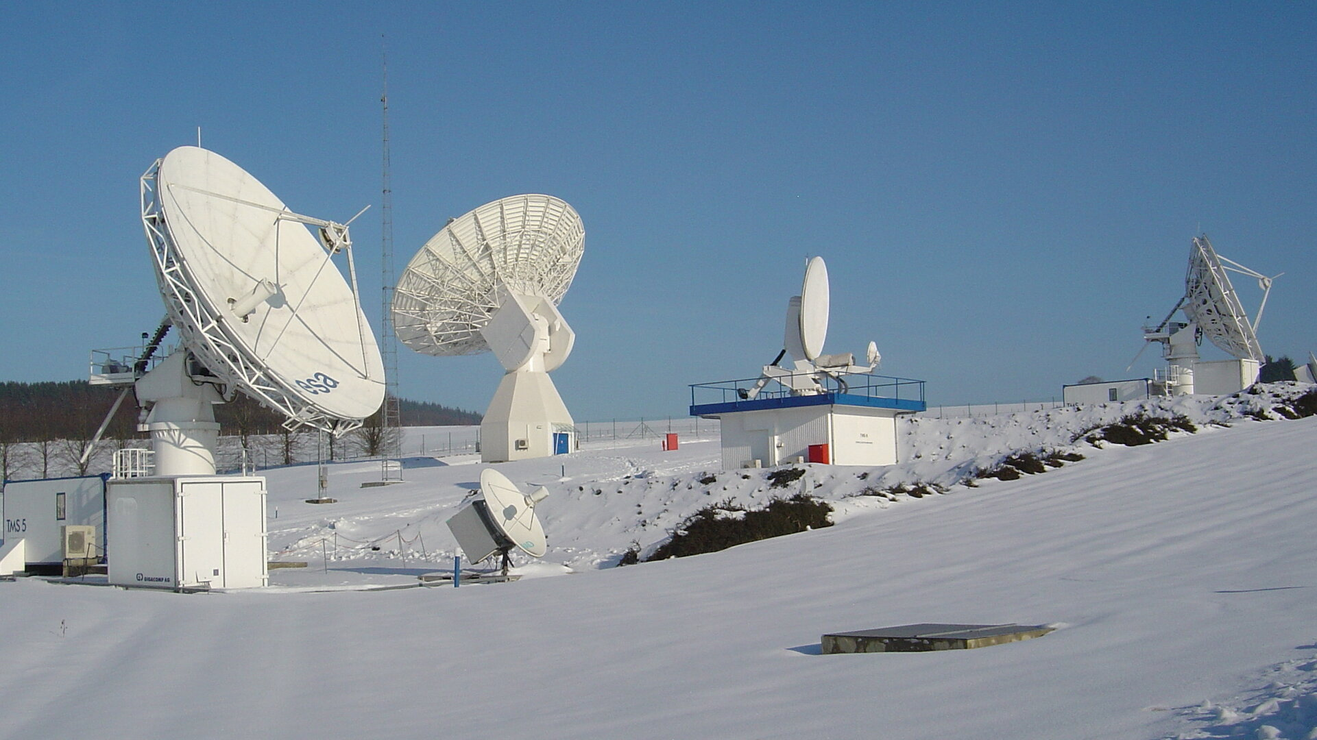 Antennas at ESA ground station ESEC in Redu