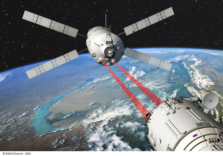 Artist's view of ESA's ATV Johannes Kepler approaching the International Space Station