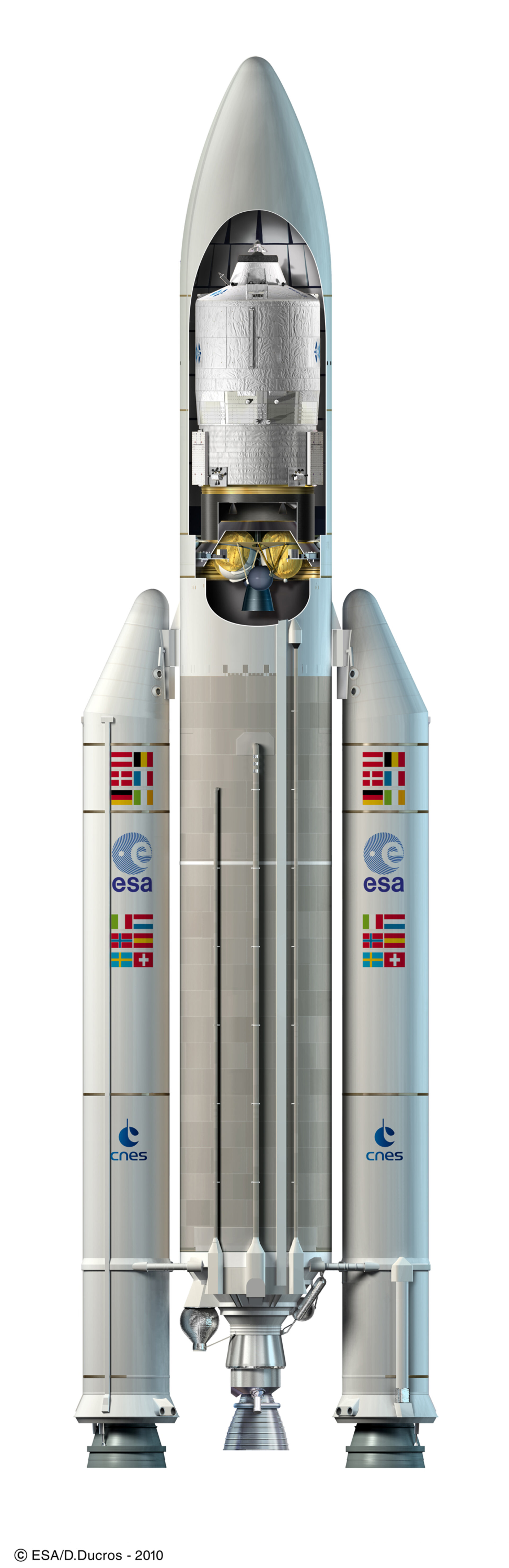 Artist's view of ESA's ATV Johannes Kepler under the payload fairing of an Ariane 5 launcher