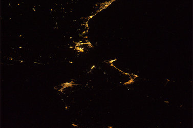 Gibraltar's Strait by night