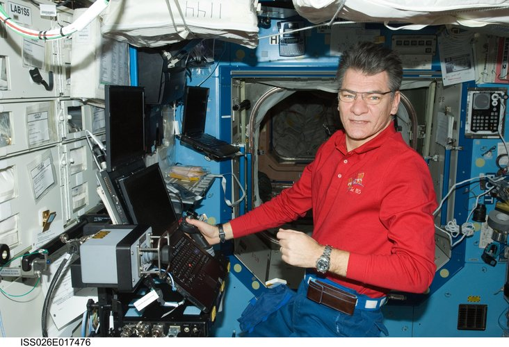 Paolo Nespoli at Robotic Workstation