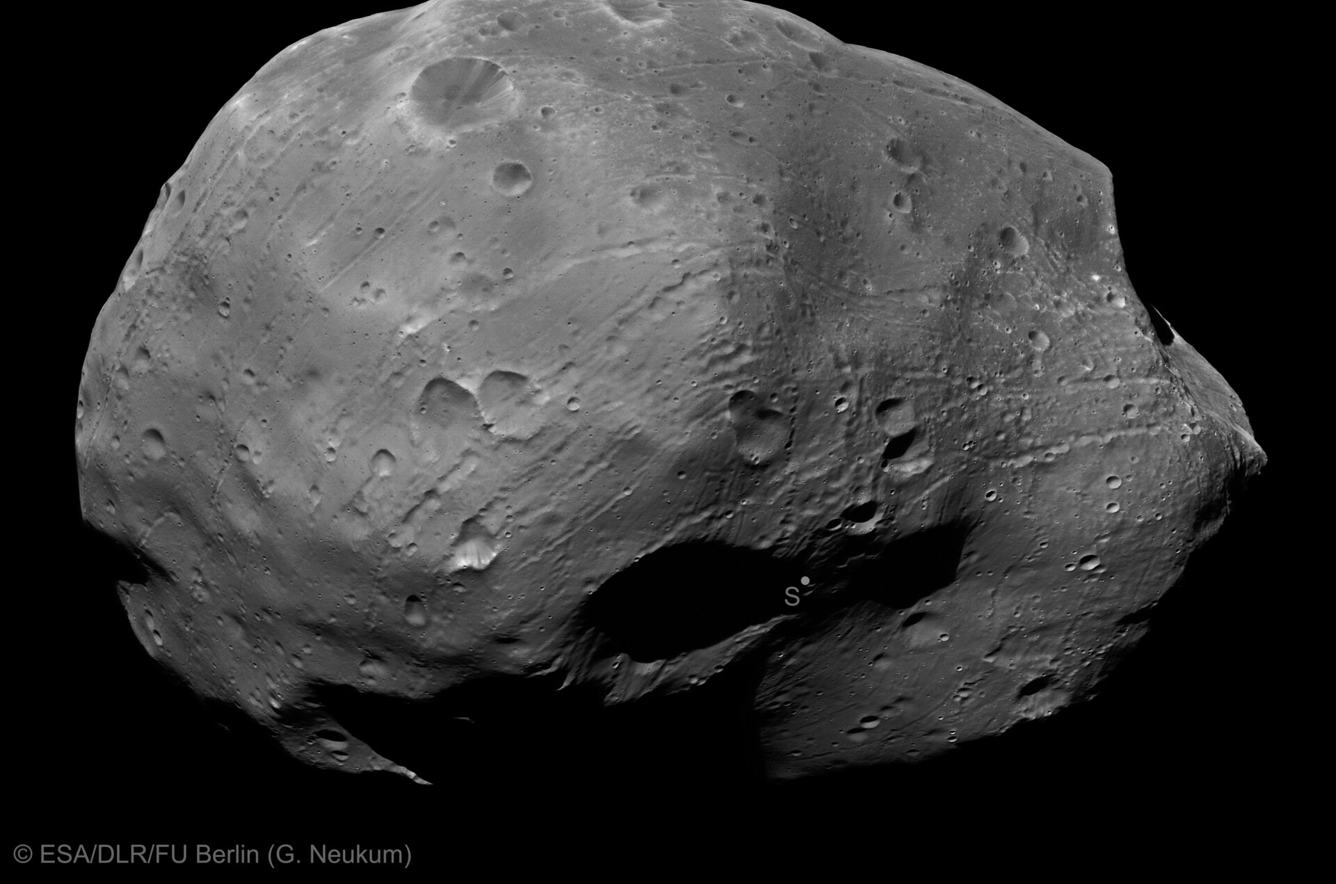 Stereo-1 channel image of Phobos