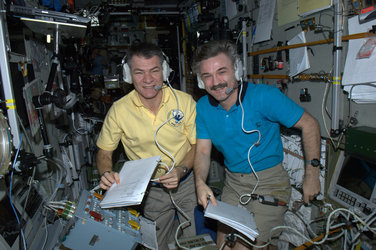 Alexander Kaleri and Paolo Nespoli after ATV docking