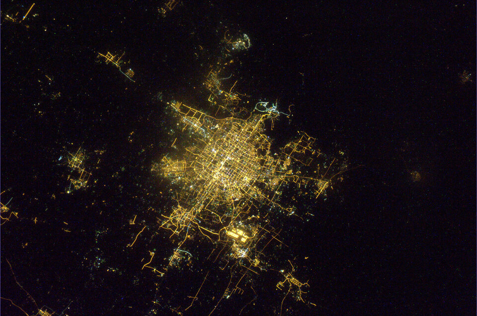 Beijing during the Chinese New Year celebrations seen by Paolo Nespoli aboard the ISS