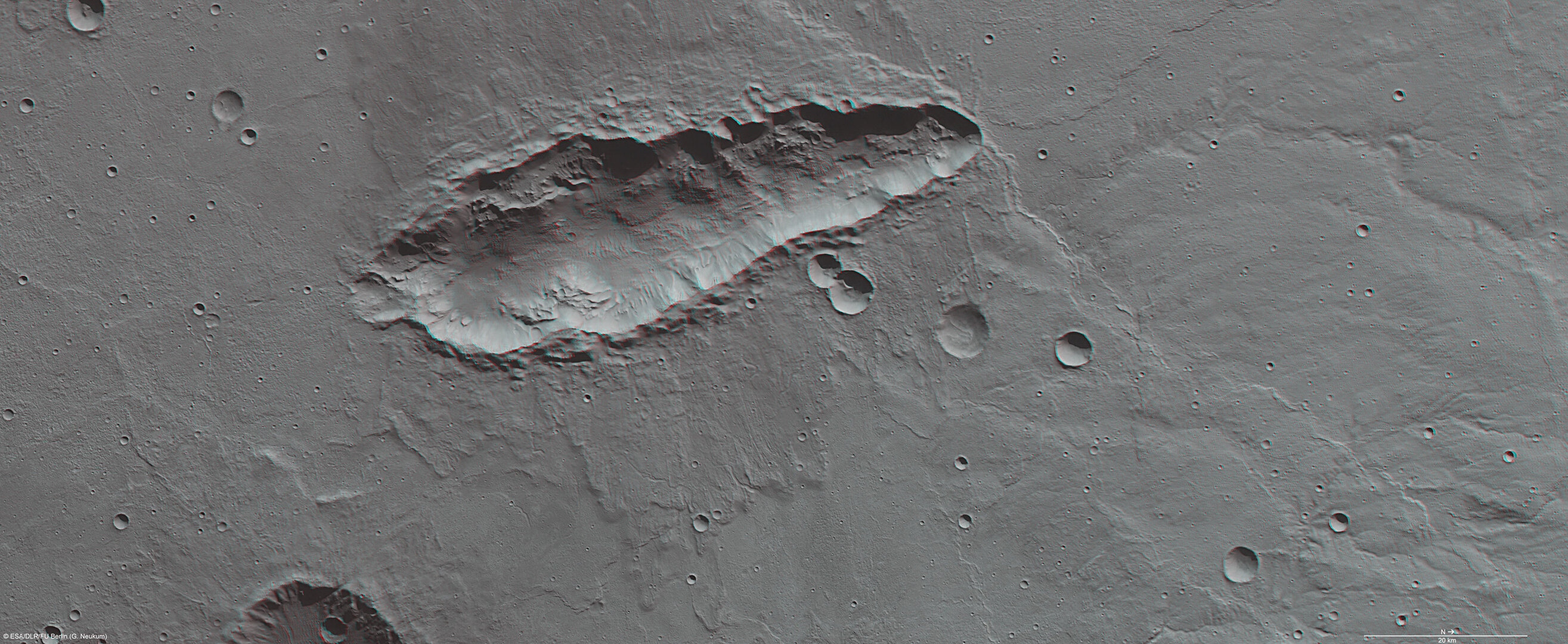 Elongated crater in 3D