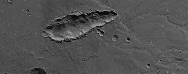 Elongated crater in high resolution