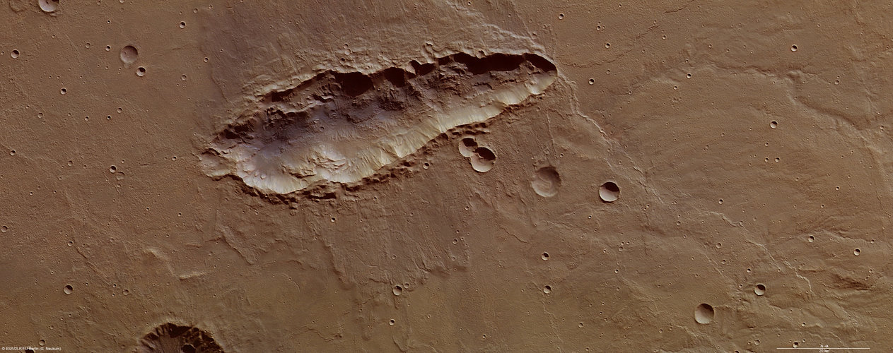 Elongated crater on Mars