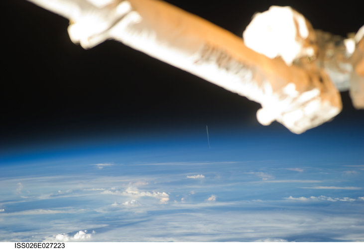 ESA astronaut Paolo Nespoli took this photograph of the ATV Johannes Kepler launch from on board the ISS