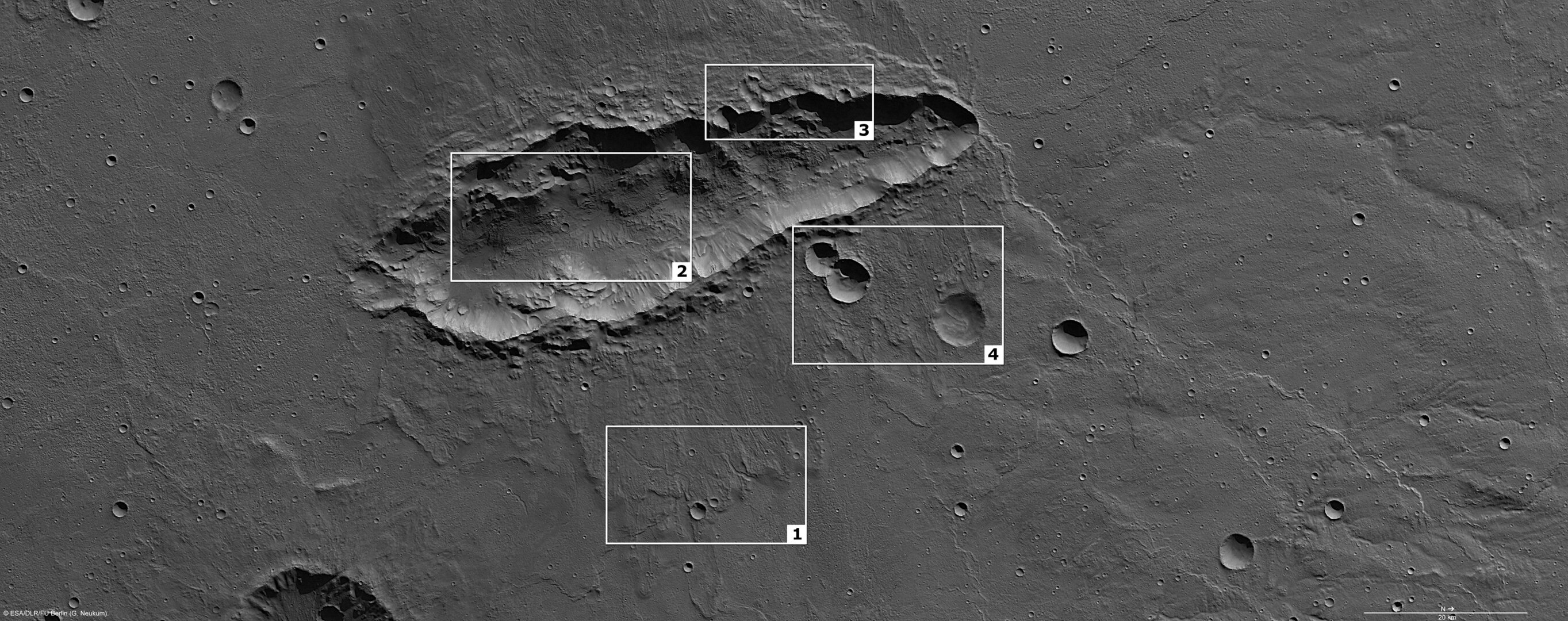 Features in the elongated crater