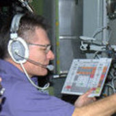 Paolo Nespoli and Aleksandr Kaleri training for the ATV docking