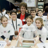 Italian schoolchildren at the Greenhouse in Space event