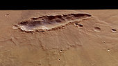 Perspective view of elongated crater