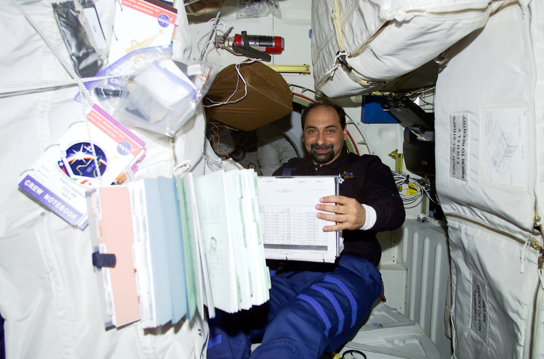 Umberto Guidoni, the first European astronaut to fly to the ISS, 2001.