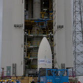 Vega launcher fairing transfer onto the launch pad