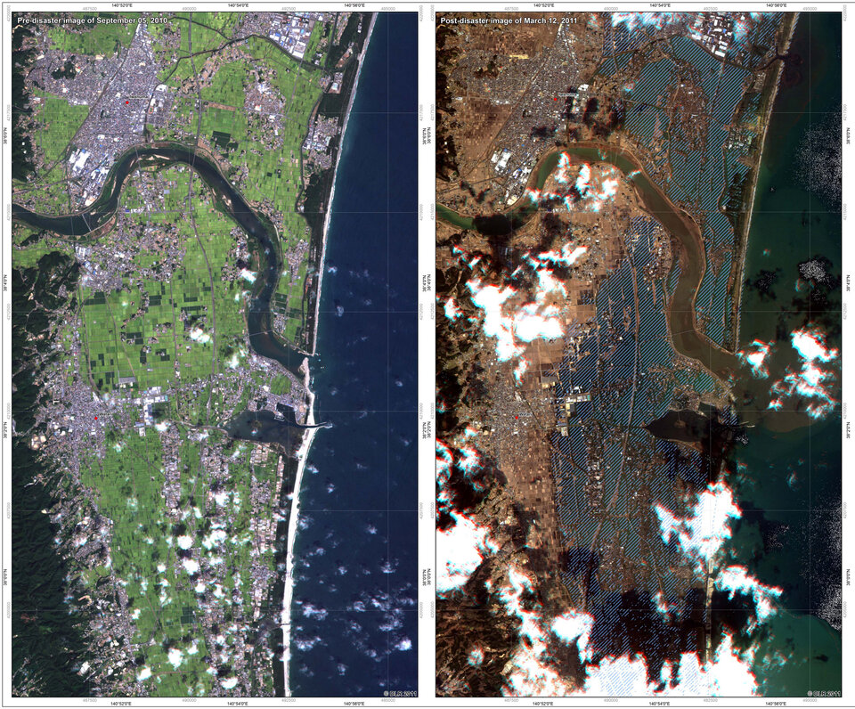 Japan before and after the tsunami that hit on 12 March 2011.