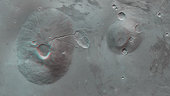 Ceraunius Tholus and Uranius Tholus in 3D