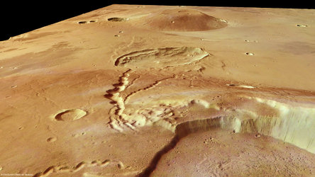 Ceraunius Tholus and Uranius Tholus in perspective