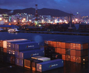 Containers in harbor