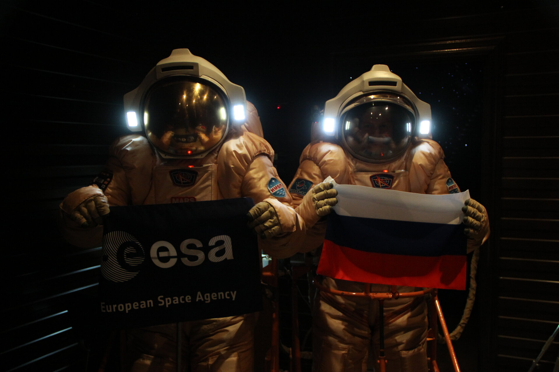 Diego and Alexandr in EVA suits