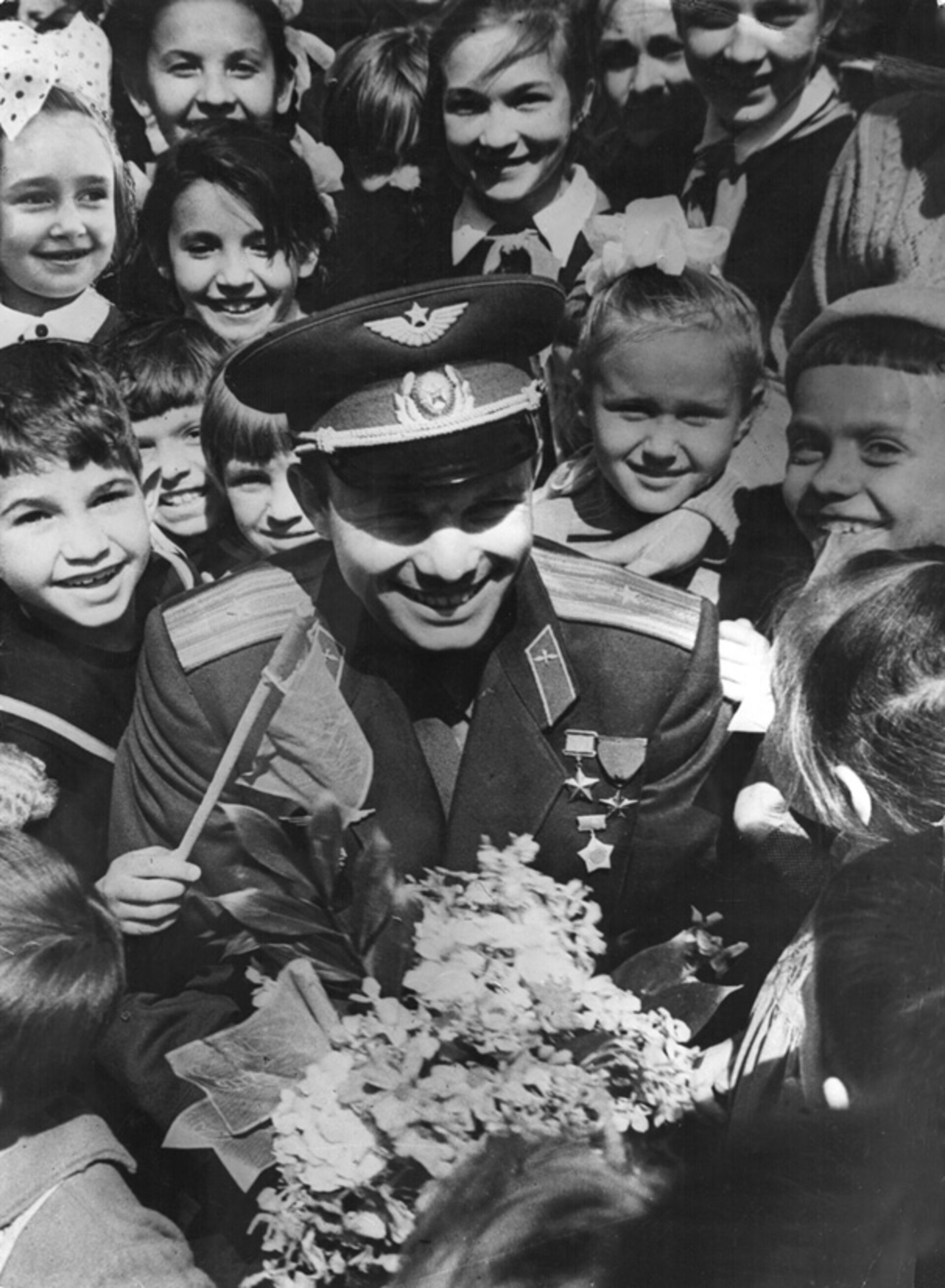 Gagarin with the public