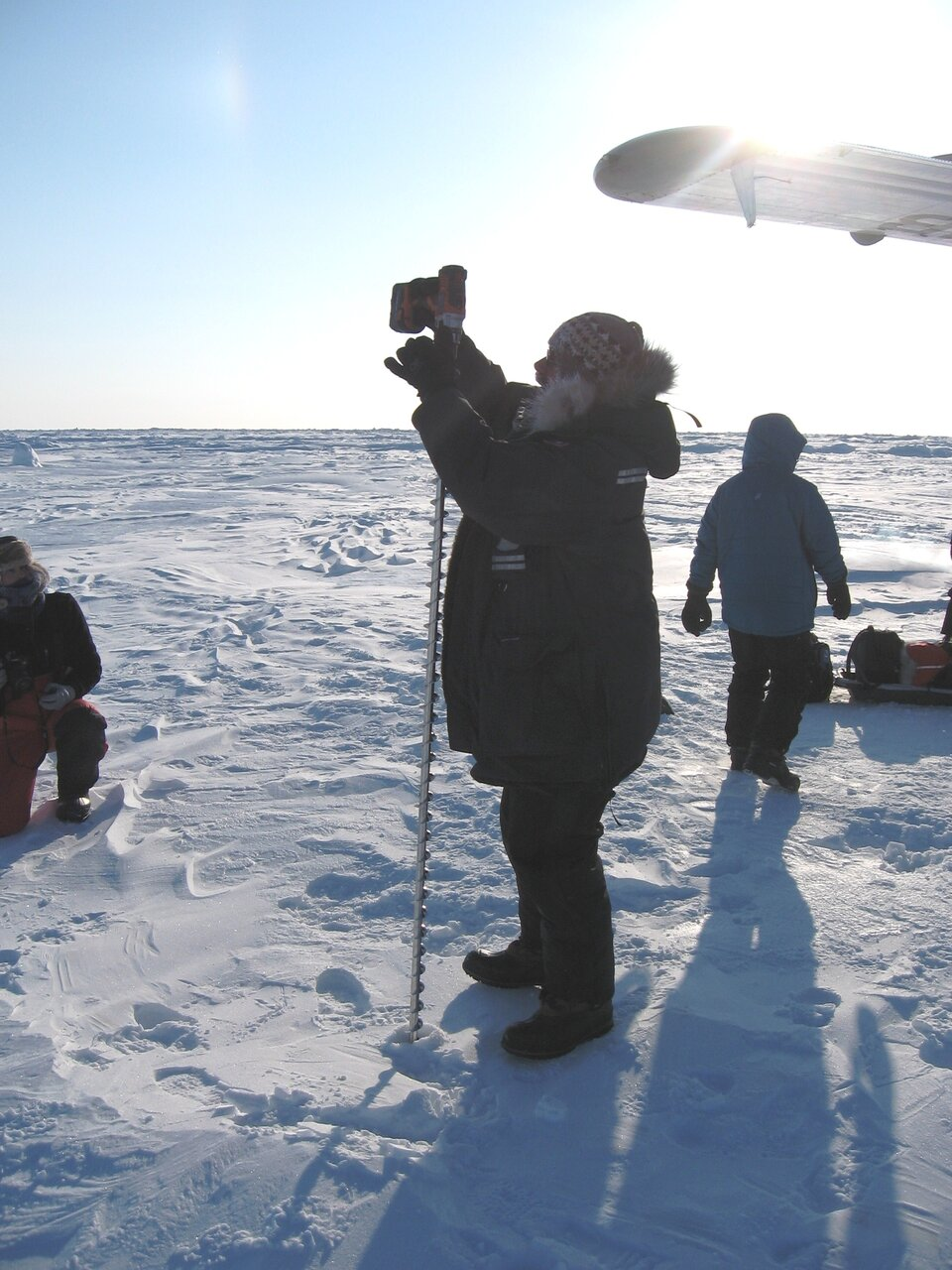 Drilling to measure ice thickness