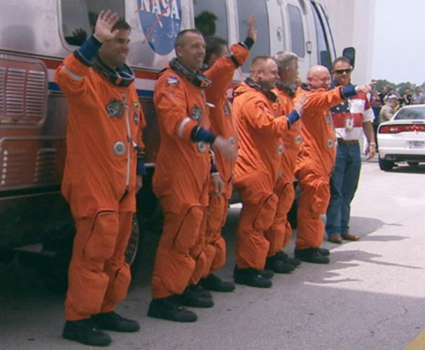 STS-134 crew walkout for launch that was scrubbed on 29 April