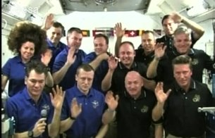 ISS crew during inflight call to Pope Benedict XVI