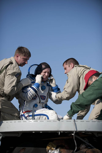 Soyuz Commander Dmitri Kondratyev after landing
