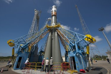 Soyuz installed on launch pad