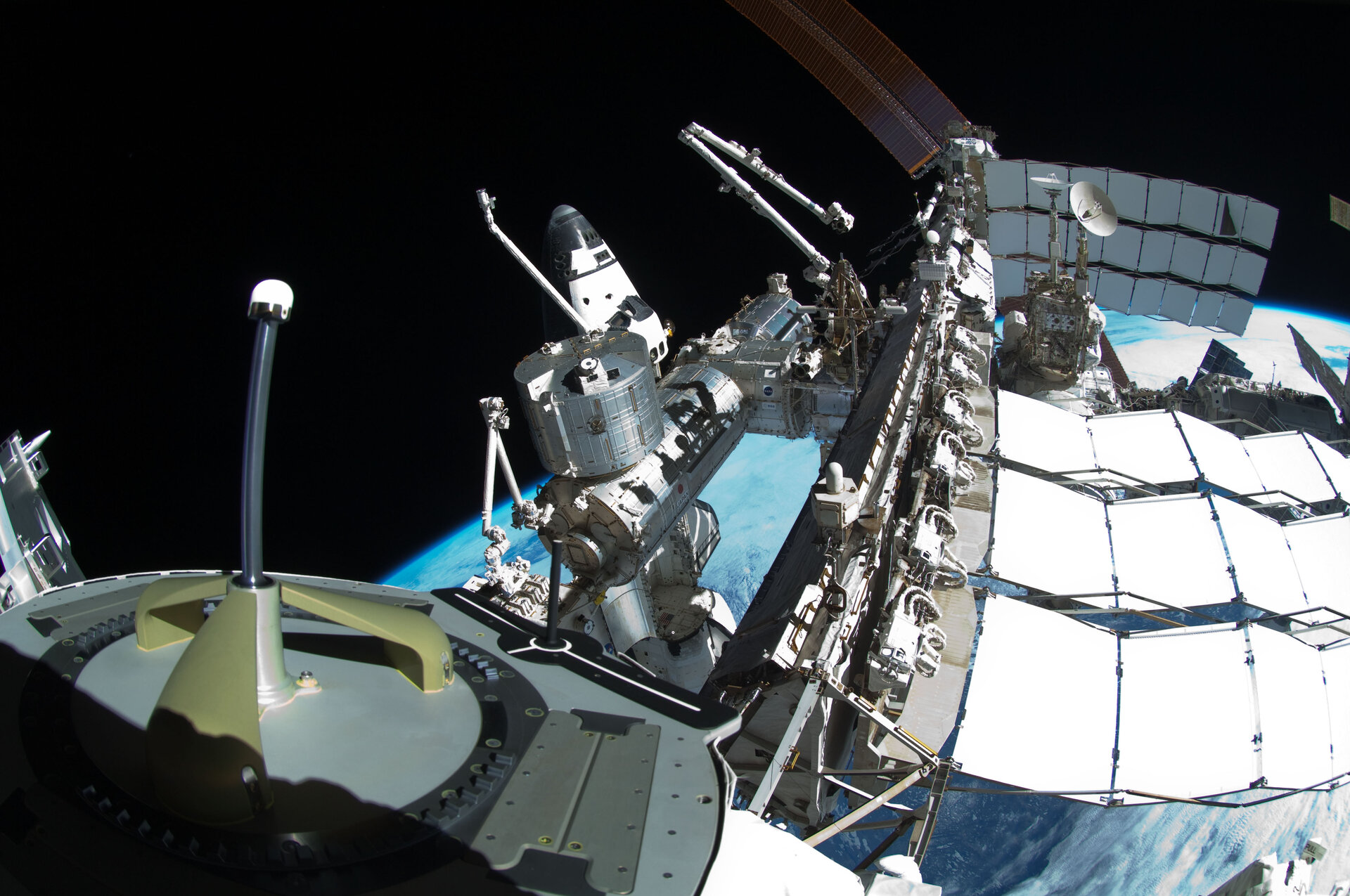 Spacewalker's view to ISS