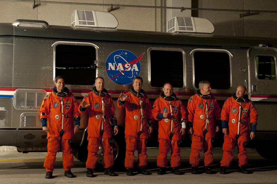 STS-134 crew walk out earlier today