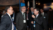 Antonio Avila Cano and Fernando Doblas visit the ESA pavilion