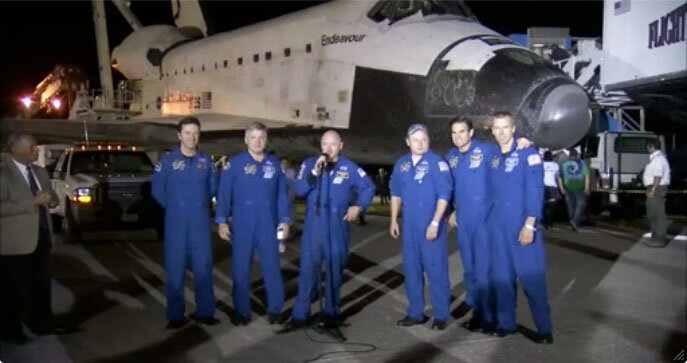 Endeavour crew after landing