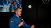 Frank De Winne presents his missions to the ISS at the ESA pavil