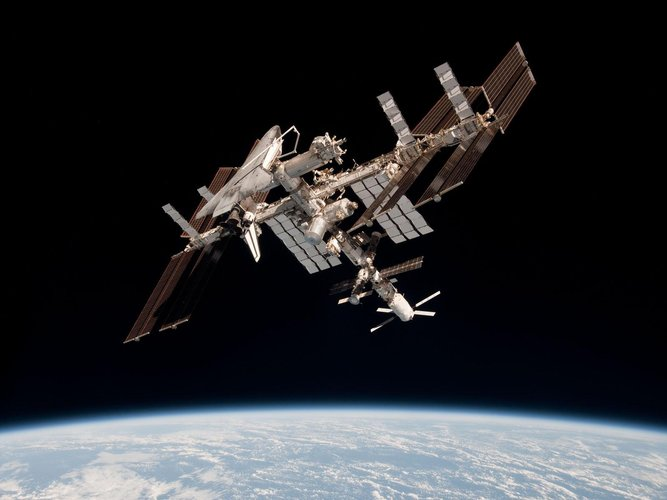 International Space Station with ATV-2 and Endeavour docked