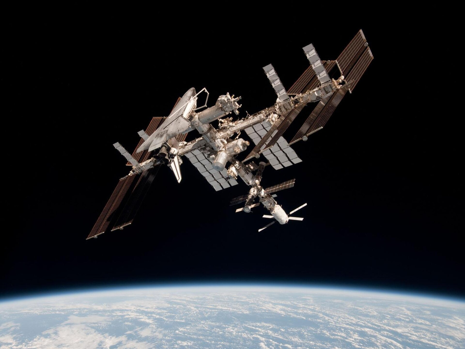 The International Space Station with ATV-2 and <i>Endeavour</i>