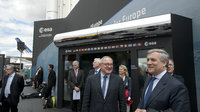 Jean-Jacques Dordain and Antonio Tajani in front of the ESA pavi
