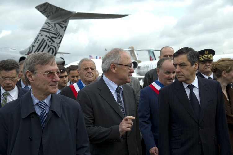 Jean-Jacques Dordain and François Fillon at the Paris Air & Space Show