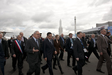 Jean-Jacques Dordain, François Fillon and Nathalie Kosciusko-Morizet at the Paris Air & Space Show